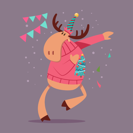 Cute Reindeer dancing in an Ugly Christmas Sweater. Vector cartoon funny deer character isolated on background. Illustration