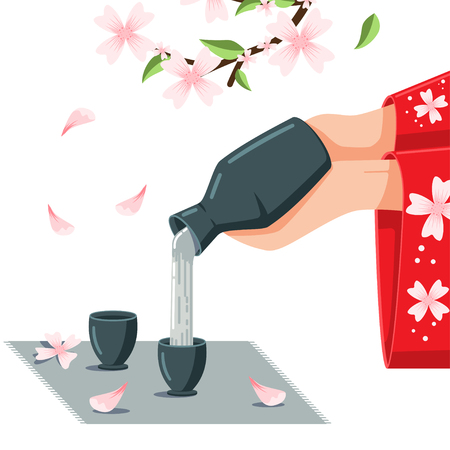 Sake vector cartoon illustration. Women's hands in kimono pouring Japanese alcoholic drink on the blossom cherry background.