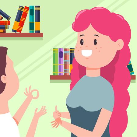 Deaf girl talking to a man sign language. Disability people vector cartoon concept illustration. Illustration