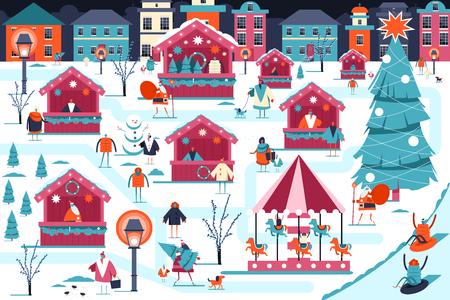 Weihnachtsmarkt-Vektor-Illustration. Weihnachtsmarkt mit Streetfood-Läden, Weihnachtsmann, fröhlichen Menschen und Karussell. Winterurlaub Stadtlandschaft flaches Bild.