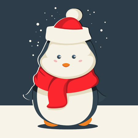 Cute Christmas penguin in Santa Claus hat and in a red scarf. Vector cartoon animal character. Winter illustration. Stock Illustratie