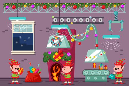 Santa workshop with funny elves at the Christmas factory. Vector cartoon holiday illustration.
