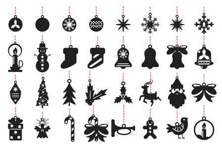 Boże Narodzenie symbole czarna sylwetka Świętego Mikołaja, renifera, płatki śniegu, kulki, drzewo, anioł, jemioła i inne. Wektor zestaw szablonów do cięcia laserowego na białym tle. Ilustracje wektorowe