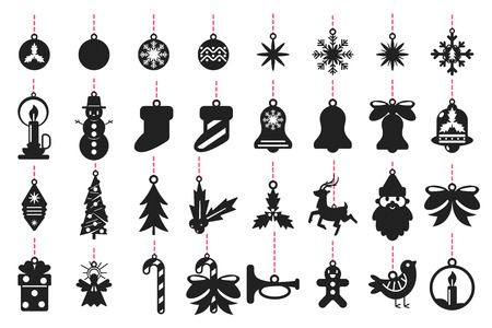 Christmas symbols black silhouette of Santa Claus, reindeer, snowflakes, balls, tree, angel, mistletoe and others. Vector set templates for laser cut isolated on white background.