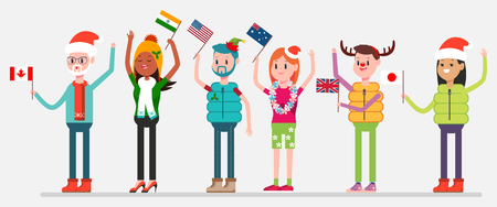 Celebrating Christmas in world. Happy people in holiday costumes with flags of Canada, USA, Australia, India, United Kingdom and Japan. Vector flat characters of men and women isolated on background.