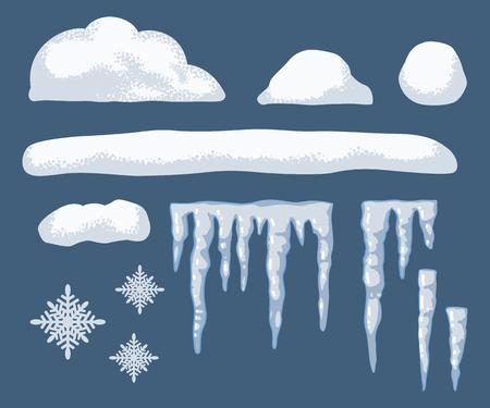 Cappelli di neve, ghiaccioli e fiocchi di neve insieme del fumetto di vettore di elementi invernali e cornici isolati su priorità bassa. Vettoriali