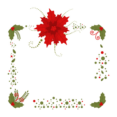 Christmas border with poinsettia and holly berry leaves. Holiday decoration element with flowers isolated on a white background.