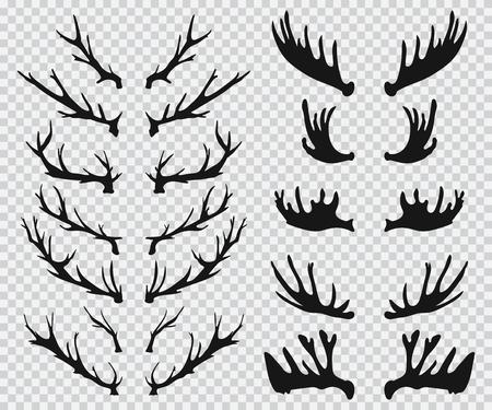 Elanden en hertengeweien zwart silhouet. Vector iconen set geïsoleerd op een transparante achtergrond.