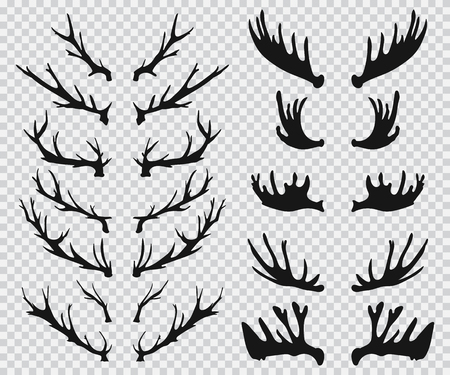 Elk and deer antlers black silhouette. Vector icons set isolated on a transparent background.