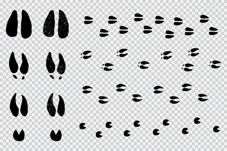 Hirsch- und Elchspuren schwarze Silhouette. Vektortierabdrucksatz lokalisiert auf einem transparenten Hintergrund. Vektorgrafik