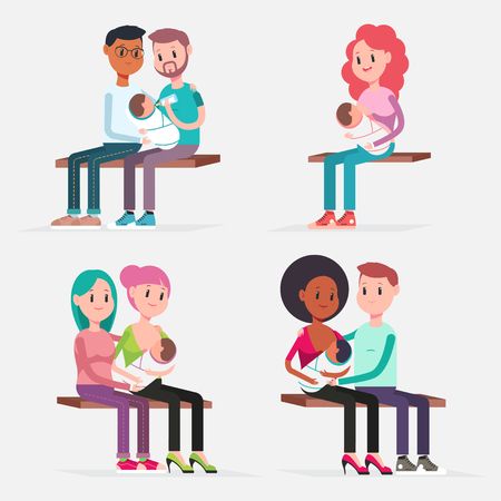 Breast feeding baby traditional and couples. Vector flat cartoon characters set isolated on white background. Concept illustration.