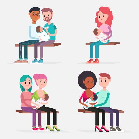 Lactancia del bebé tradicional y en pareja. Conjunto de personajes de dibujos animados planos vectoriales aislado sobre fondo blanco. Ilustración de concepto.