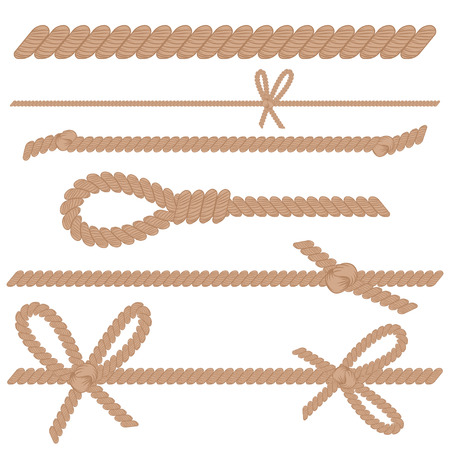 Rope, cord, string with knots, bows and loop vector cartoon set isolated on a white background.