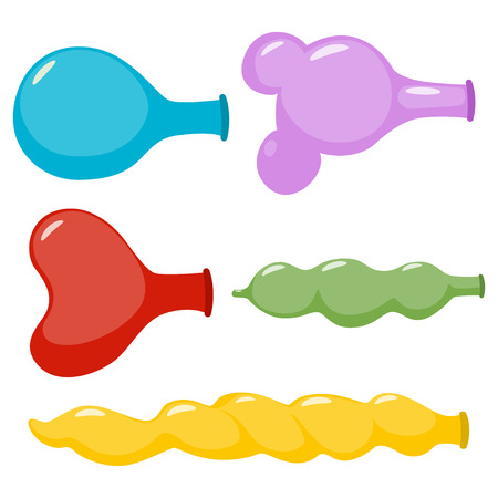 Uninflated balloons of different shapes vector cartoon set isolated on white background.