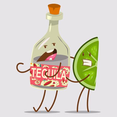 Divertente personaggio di tequila e lime. Carino messicano cibo e bevande fumetto illustrazione vettoriale isolato su sfondo. Progettazione di massima dei migliori amici.