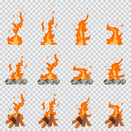 Game fire animation effect. Firewood, campfire and bonfire vector cartoon flat set isolated on transparent background.