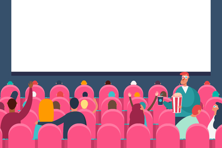 People audience watching movie in cinema theater. Vector flat cartoon illustration.