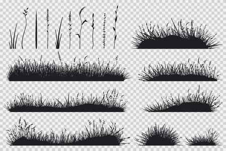 Silhouette noire d'herbe. Ensemble de vecteur de plantes de prairie isolé sur fond transparent.