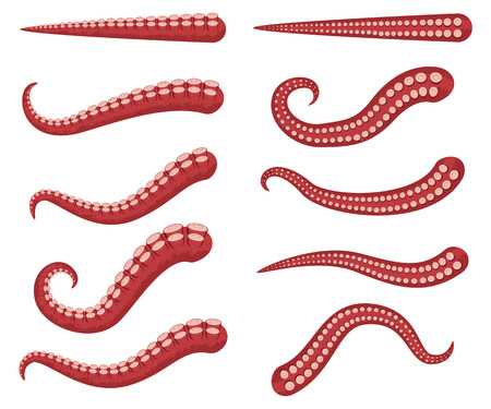 Octopus tentacles vector cartoon set isolated on a white background. Ilustracja