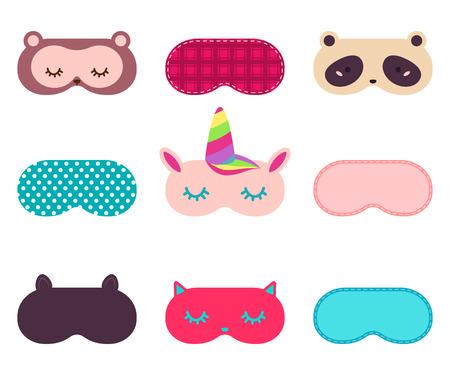 Antifaz para dormir con cara de animal divertido. Conjunto de iconos de dibujos animados simple vector aislado sobre fondo blanco.