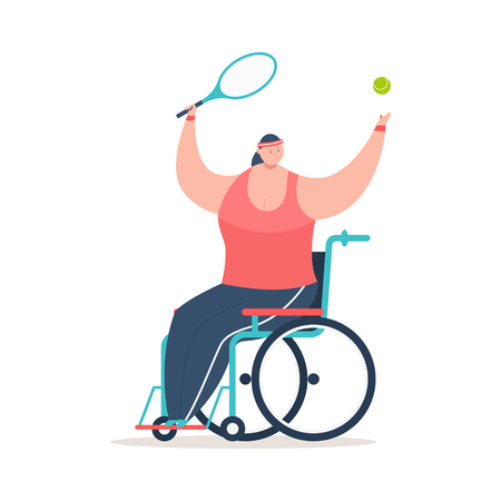 Handicapped girl in a wheelchair playing tennis. Disability sport vector cartoon concept illustration isolated on white background.