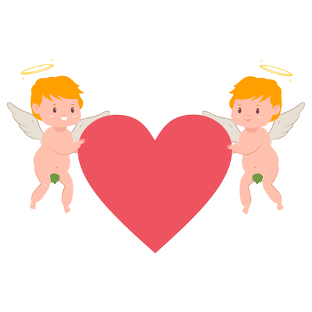 Funny cupids with red heart. Valentines Day vector cartoon amur character with angel wings and halo isolated on white background.