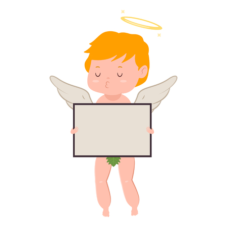 Cute cupid with board blank sign. Valentines Day vector cartoon amur character with angel wings and halo isolated on white background.