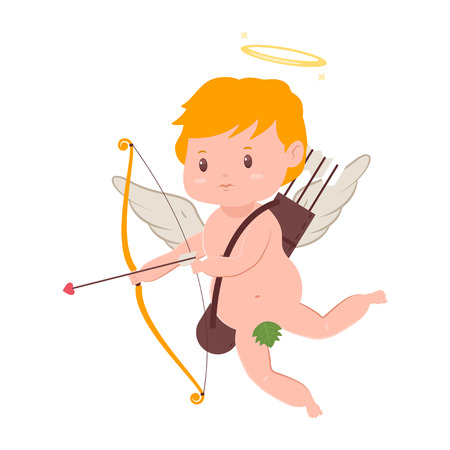Cute cupid with bow and arrow. Valentines Day vector cartoon amur character with angel wings and halo isolated on white background. Illustration