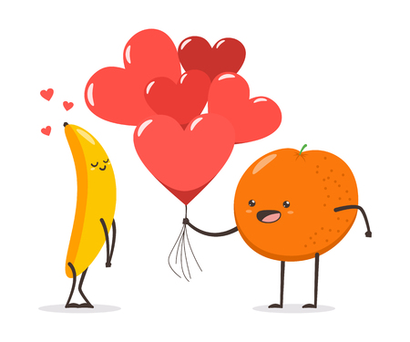 Couple of banana and orange with hearts and air balloons. Valentine Day vector cartoon cute fruit character isolated on white background. Illustration