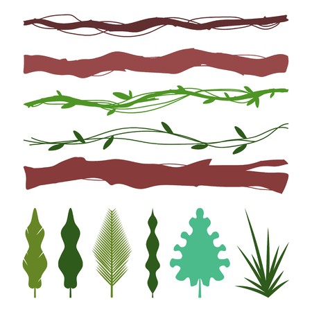 Jungle decoration elements with tropic leaves, lianas, branch and grass. Vector flat cartoon set isolated on white background.