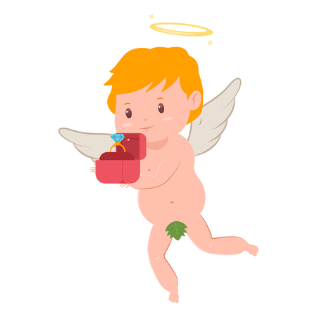 Cute cupid with a diamond engagement ring in red box. Valentines Day vector cartoon amur character with angel wings and halo isolated on white background.