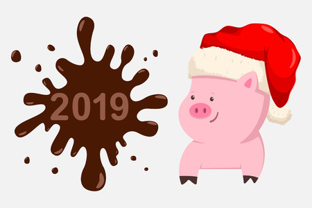Funny Christmas Pig in Santa Claus hat. 2019 Happy New Year greeting card template. Vector cartoon holiday illustration isolated on white background. Ilustración de vector