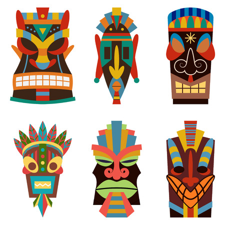 Tiki tribal mask vector set. Sculpture flat icons isolated on white background.