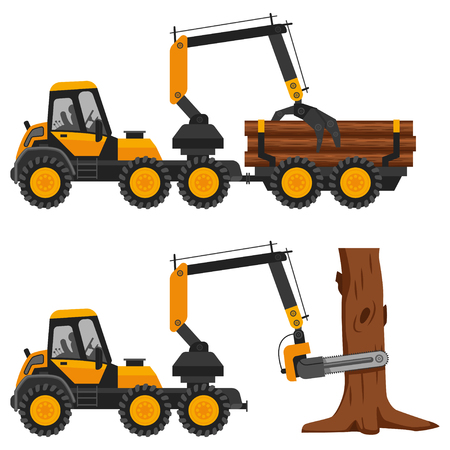 Harvester working in a forest. Vector flat illustration of a truck with logs isolated on a white background.