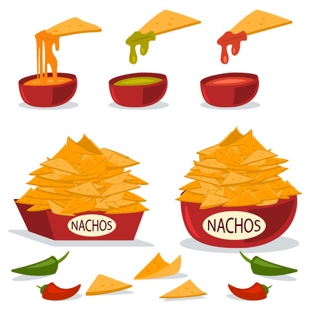 Nachos in a plate with cheese, chili and guacamole sauces. Vector cartoon flat illustration of Mexican food isolated on white background. Illustration