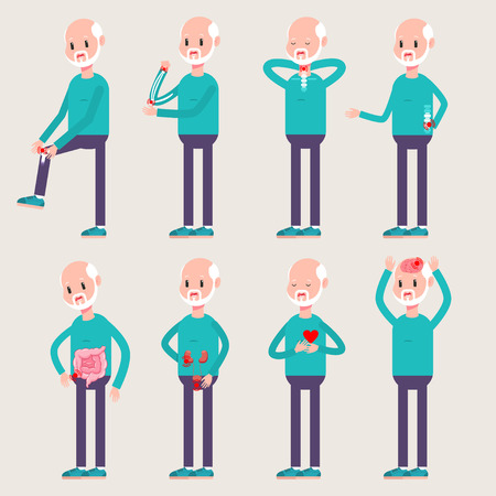 Orthopedics and injuries of the elderly people. Vector cartoon old man character set with diseases and traumas of internal organs and bones isolated on background.