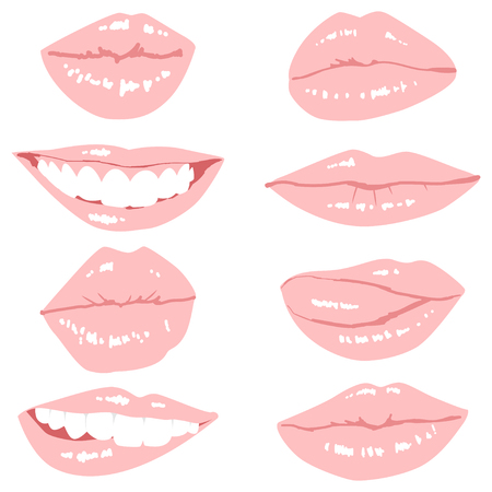 Pink woman lips set. Vector cartoon illustration isolated on a white background. Illustration