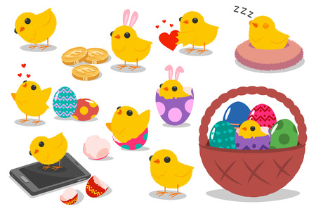 Cute Easter chicks characters. Vector cartoon set of funny holiday chicken with eggs, basket and bunny ears isolated on white background.
