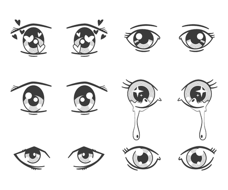 Anime eyes with different expressions. Vector black silhouette icons set isolated on white background.