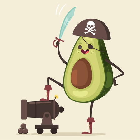 Funny pirate Avocado in hat, eye patch, sword and cannon with ball Cute fruit sea robber vector cartoon character isolated on background.