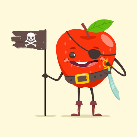 Funny pirate Apple in eye patch, sword and black flag with skull and crossbone. Cute fruit sea robber vector cartoon character isolated on background.