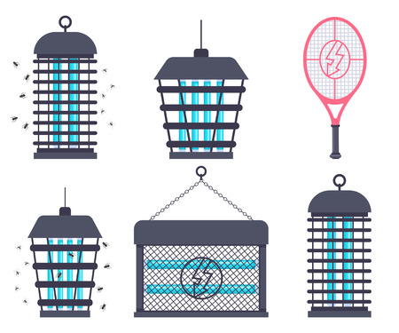Electric bug zapper, fly swatter racket and mosquito trap vector cartoon flat set isolated on a white background.
