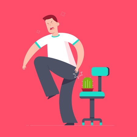 Hemorrhoids vector concept cartoon illustration with man, office chair and cactus.