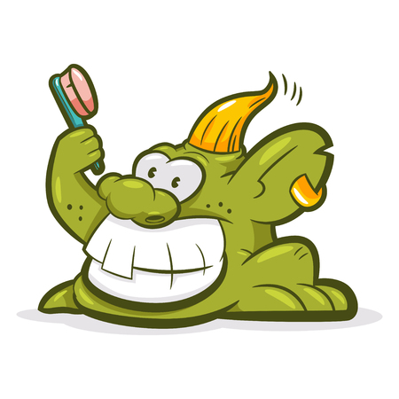 Smiling troll with a toothbrush. Vector cartoon monster character isolated on white background.