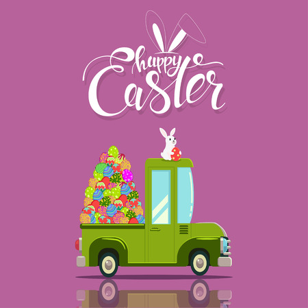 Easter car with painted eggs and a cute bunny on the roof. Vector cartoon greeting card design with handwritten text.