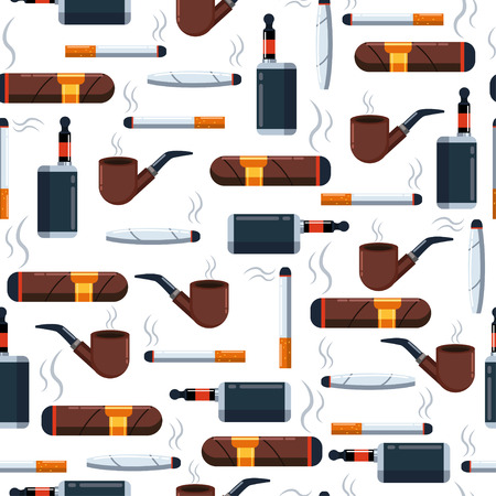 Cigarette vector seamless pattern on a white background for wallpaper, wrapping, packing, and backdrop. ?igar, jamb with marijuana, wooden pipe with tobacco and electronic flat icon set.