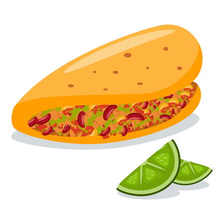 Taco with lime slices. Mexican food vector cartoon flat icon isolated on white background.