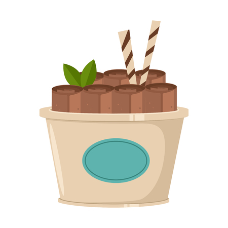 Thailand chocolate ice cream roll with waffle and mint. Vector cartoon flat icon or logo isolated on a white background. Illustration