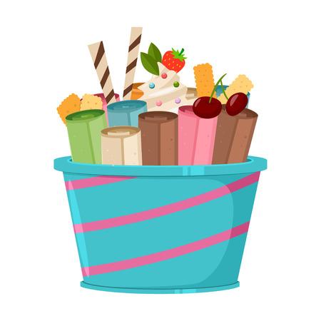 Rouleau de crème glacée thaïlandaise avec gaufres, biscuits, cerises, fraises et bonbons à la sucette. Icône plate de dessin animé de vecteur ou logo isolé sur fond blanc.