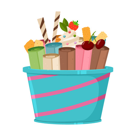 Thailand ice cream roll with waffle, cookie, cherry, strawberry and lolly candy. Vector cartoon flat icon or logo isolated on a white background. Illustration